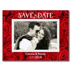 Red Roses Save the Date Photo Postcard