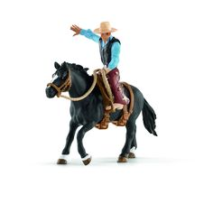 Schleich North America Saddle Bronc Riding with Cowboy Playset. Hand  Painted. Highly Detailed. 9d1120a1f75