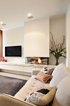 Modern living room with TV and fireplace and cabinet storage Living Room Decor Fireplace, Home Fireplace, Modern Fireplace, Living Room Tv, Fireplace Design, Interior Design Living Room, Home And Living, Living Room Designs, Modern Living