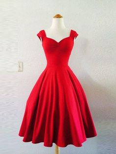 Cherry Red Rockabilly Dress Pin Up VALENTINES by MoonbootStudios I love it my dream dress so beautiful A Line Prom Dresses, Prom Party Dresses, Short Dresses, Prom Gowns, Evening Gowns, Wedding Dresses, Pin Up Dresses, Dresses 2016, Hair Wedding