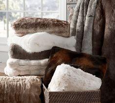 Faux Fur Throw - Chinchilla   Pottery Barn