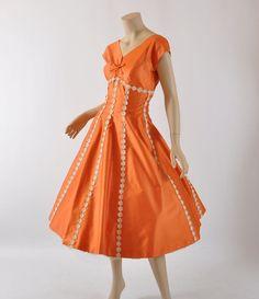 Vintage 1950's Orange Cotton Sateen Dress.