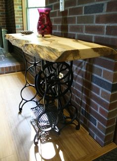 Industrial Coffee Table - Upcycled Sewing Stand with Curly Tiger Maple wood slab top - Cocktail Table 1070 Singer Table, Singer Sewing Tables, Sewing Desk, Repurposed Furniture, Vintage Furniture, Diy Furniture, Furniture Online, Sewing Machine Tables, Antique Sewing Machines