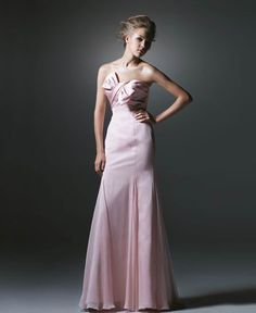 Bonny Pink Bowknot Mermaid Chiffon Satin Sweep Train Evening Gowns