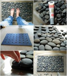 Start with plain door mat -- no decoration -- that has holes to let water drain through. Use silicone to attach river stones to the door mat.