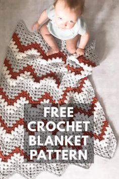 Chevron Crochet Blanket Pattern Baby, Crochet Ripple Blanket, Crochet Baby Blanket Free Pattern, Baby Blankets To Crochet, Chevron Baby Blankets, Easy Baby Blanket, Crochet Shawl, Lion Brand, Quick Crochet