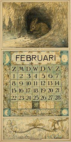 1914 calendar illustrated by Theodoor van Hoytema, 1863-1917.