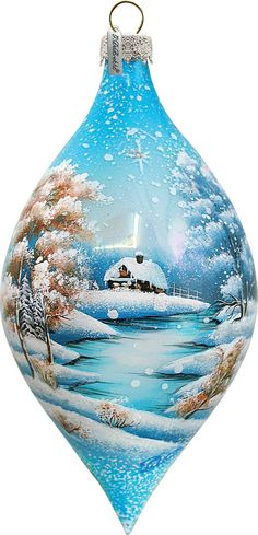 Winter Cabin Drop Ornament; Hand-painted Old World Christmas Scene;  Vintage Holiday Ornament Free Personalized  (74170) by gdebrekhtgallery. Explore more products on http://gdebrekhtgallery.etsy.com