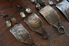 Rustic etched bracelets by STEPHANIE LEE ...#jewelry #fashion #vintage allure