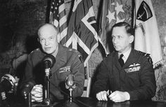 Supreme Commander Dwight Eisenhower and Deputy Supreme Commander Arthur Tedder making the formal announcement that Germany had signed the surrender Reims France 7 May 1945.
