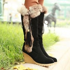 L Casual Womens Suede Faux Wedge Heel Rabbite Fur Winter Knee-High Shoes Sz4.5-8