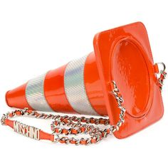 Moschino Metallic-Striped Traffic Cone Shoulder Bag ($1,270) ❤ liked on Polyvore featuring bags, handbags, shoulder bags, orange purse, orange patent leather handbag, moschino purse, striped purse and chain shoulder bag