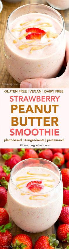 Vegan Strawberry Peanut Butter Smoothie (V+GF): an easy 4 ingredient recipe for protein-rich, creamy smoothies bursting with strawberry and PB flavor. #Vegan #GlutenFree #DairyFree | BeamingBaker.com