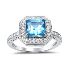 Sterling Silver Blue Topaz Ring Princess Square Aascher Cut Birthstone