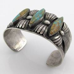 Old Pawn Sterling Silver & Turquoise Navajo Indian Bracelet sold for $215.00