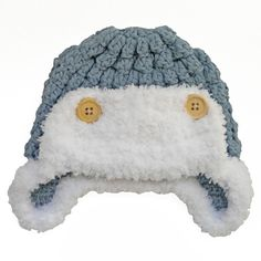 The Blue Knit Baby Aviator Cap is a slate blue knit aviator style beanie with fluffy white yarn trim. The cap is cotton and it is recommended that you hand wash the hat in cold water. The beanie comes in small (baby months)and medium (baby Vintage Baby Boys, Retro Baby, Newborn Crochet, Crochet Baby, Aviator Hat, Baby Boy Hats, Kids Hats, Baby Boutique, 6 Years