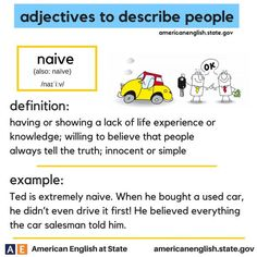 adjectives to describe people: naive Vocabulary Practice, Grammar And Vocabulary, Vocabulary Cards, English Vocabulary Words, English Phrases, Learn English Words, English Lessons, English Grammar, English Language Learning