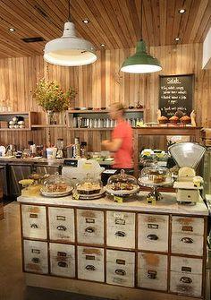 Three Bags Full Café - Abbotsford, Melbourne (Et là Ninis, tu y es allée? Bar Interior, Shop Interior Design, Cafe Design, Restaurant Design, Cafe Restaurant, Cafe Bistro, Cafe Bar, Restaurants, Melbourne Cafe