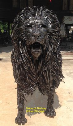 lion sculpture, life size scrap metal art
