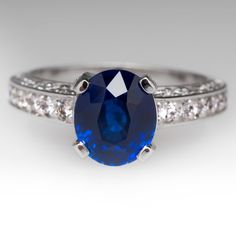 2.3 Carat Rich Deep Blue Sapphire Ring in Platinum