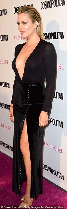 Vamping it up! The 31-year-old reality star showcased her cleavage in a black plunging top...