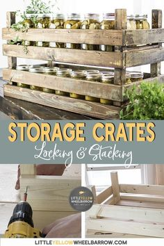 DIY stackable storage bins that lock together. These rustic farmhouse style wooden crates were designed to store excess mason jars, but their uses are unlimited. A simple DIY project that you can make in less than an hour. Farmhouse Side Table, Rustic Farmhouse, Farmhouse Style, Rustic Style, Target Farmhouse, Industrial Farmhouse, Diy Storage Crate, Storage Bins, Storage Solutions