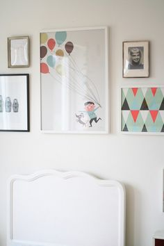 Home tour of Johanna Gartmyr. A real life Swedish home.. Artwork in the bedroom. Framed wallpaper.