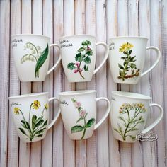 Купить Роспись фарфора Бокалы чайные  Аптекарский огород - роспись фарфора, роспись по фарфору