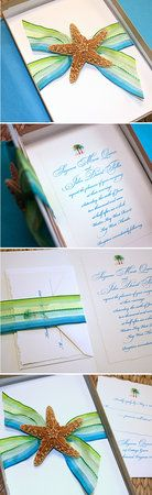 invitation with variegated ribbon.  How cute would it be to match ribbon to a striped table runner?
