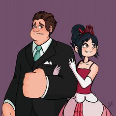 So I pretty much have this AU in my head, where the developers for Sugar Rush Speedway wanted to give Vanellope von Schweetz a more sen. Wreck-It and Older Vanellope Disney And Dreamworks, Disney Pixar, Disney Characters, Disney Princesses, Walt Disney, Couple Cartoon, Cartoon Tv, Disney Fan Art, Disney Style