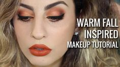Warm Fall Inspired Makeup Tutorial: Used Jaclyn Hill Palette, ES13 soft gold peach, transition shade, ES14 Vivid Orange Matte, deepen the crease, EX71 Deep Maroon Red Matte, deepen the outer corner, ES24 Deep Cocoa Redish Brown Matte, ES75, Shinny Rust Shimmer, inner lid, ES11 Orange Copper Velux Pearl, outer lid, paired with Kathleen Light Miami Fever Lipstick.