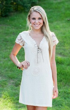 Judith March knows what Southern girls love and this dress is it! Lace, cream, and gorgeous embroidery bring to mind Summer and sweet tea. I love this look for its sheer sleeve and v neck that is sexy but still conservative!