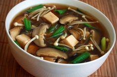 Japanese Soup recipe shiitake enoki mushrooms tofu vermicelli