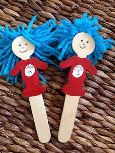 Things 1 and 2 craft stick puppets Dr. #Seuss