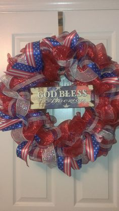 God Bless America Patriotic Deco Mesh Wreath by MisSuenos on Etsy, $40.00