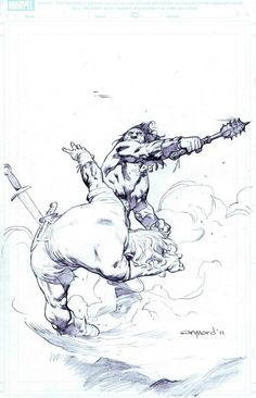 Conan by Cary Nord.  His poses are extreme, but his musculature and anatomy are awesome