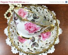 SALE Iridescent Tea Cup Teacup and Reticulated Saucer - Pearlized Royal Sealy 12090 by TheVintageTeacup on Etsy https://www.etsy.com/listing/225847275/sale-iridescent-tea-cup-teacup-and
