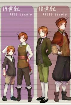 Growing Italians Hetalia Part 2 Romano and Italy - Second in a series showing Feliciano and Lovnio growing up: 17th and 18th centuries. Note how Lovino's outpaced Feliciano by a good deal here. I'm also pretty darn sure that Lovi is not in 18th century dress on the right - unless it's some regional costume that I'm not familiar with, that looks way too early.