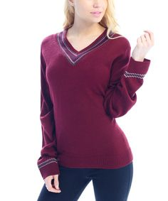 Take a look at this Wine Fair Isle V-Neck Sweater - Women on zulily today!