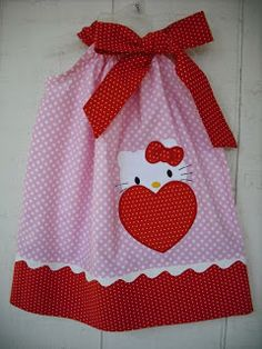 Valentine's Day Hello Kitty Heart Pillowcase dress by MyDaughtersShop, Little Dresses, Little Girl Dresses, Sewing For Kids, Baby Sewing, Toddler Dress, Baby Dress, Sewing Clothes, Doll Clothes, Pillow Dress