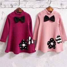 Girls Dusty Pink Long Sleeve Fleece Lined Tunic with Flower & Bow Applique