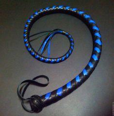 BDSM Fetish Whip Black & blue leather 30 inch Купить Снейк. Плеть без твёрдой рукояти - синий, черный, кожа, натуральная, высокое качество