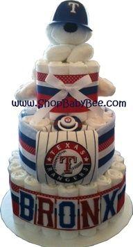 WowNeedOneTexas Rangers Diaper Cake - Baby Gift