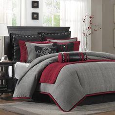 bedding Red Bedding Sets, Twin Comforter Sets, Grey Bedding, King Comforter, Queen Bedding, Luxury Bedding, Gray Bedroom, Trendy Bedroom, Bedroom Colors