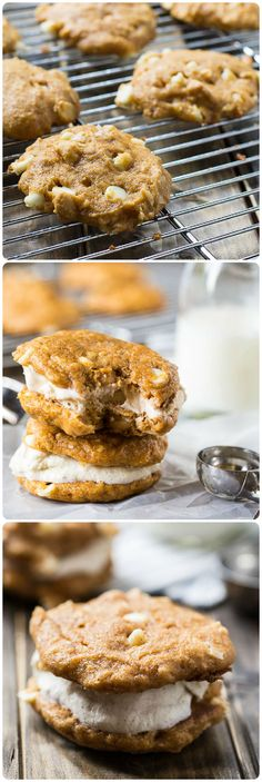 Soft and cakey Pumpkin-White Chocolate Cookies with macadamia nuts and coconut. They are perfect for making ice cream sandwiches