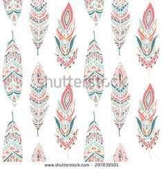 feather: Seamless Pattern with Ethnic Feathers, hand drawn vector illustration… Ethnic Patterns, Print Patterns, Pattern Ideas, Feather Illustration, Hand Illustration, Feather Wallpaper, Feather Art, Stone Art, Design Elements