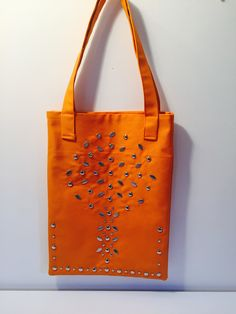 Large Orange studded tote bag