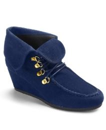 Navy Suede Wedge booties.  What do you think?
