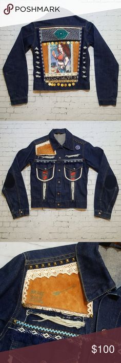 """Vintage 70's Custom Festival Denim Jacket Festival jacket. Put on shop, 70's-80's Sears. No flaws other than intentional distressing. Geniune leather patches on front and back. Embellishments were fabric glued and handstitched.  Dark wash, heavy duty but not thick denim. Taking offers. Oversized/boyfriend fit on xsmall. More fitted on a small.  BUST:36"""" HEM:32 WAIST:34 SHOULDER:16 1/2 LENGTH: 21 1/2 Vintage Jackets & Coats Jean Jackets"""