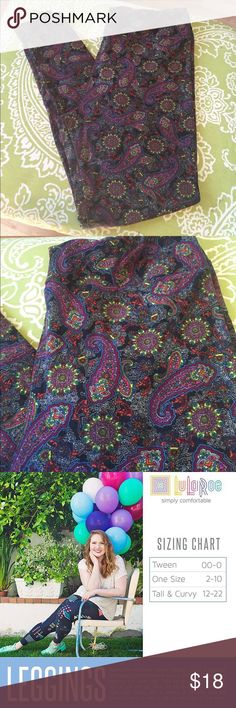 LuLaRoe Paisley Leggings LuLaRoe TC Leggings. Worn a few times and always washed on cold and hung to dry. Some slight fading in a few small areas. Gorgeous Paisley print. 🔹Size TC Tall and Curvy Fits Size 12-22 LuLaRoe Pants Leggings